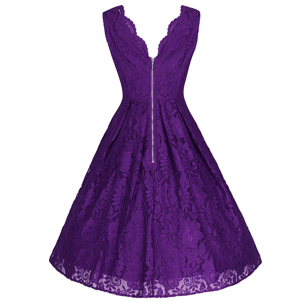 Purple Embroidered Lace Neck Sleeveless 50s Swing Dress