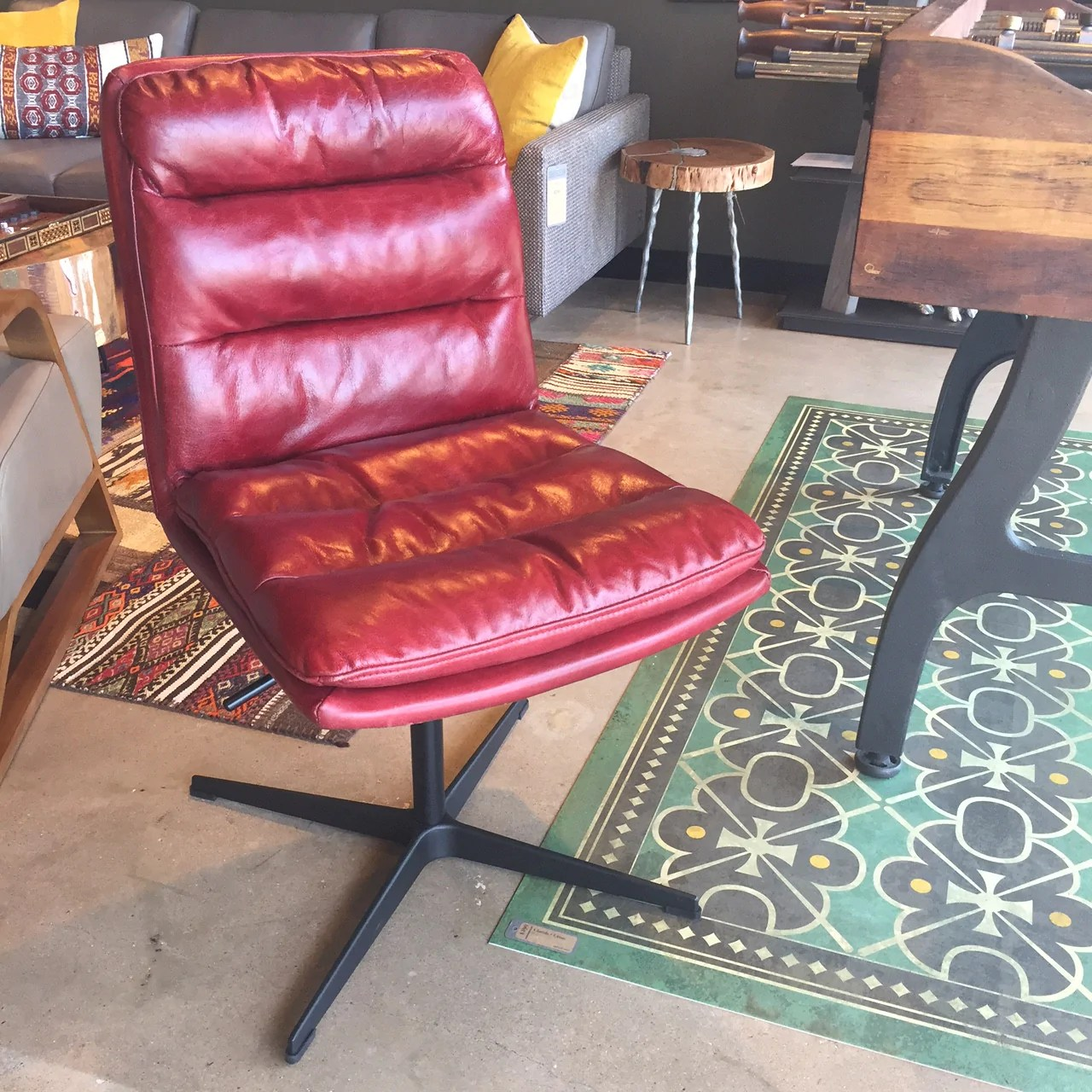 Red Leather Swivel Chair Jett Red Leather Swivel Chair