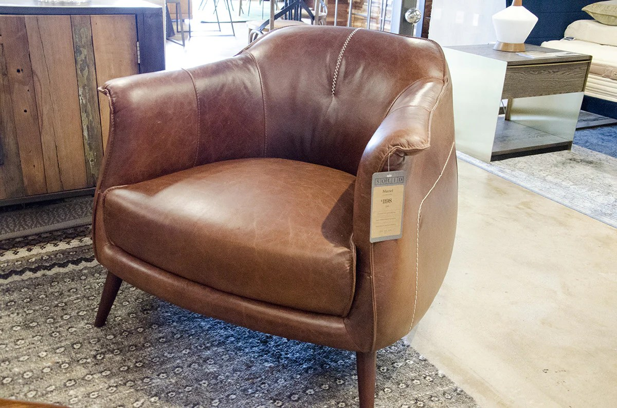 Wood Club Chair Martel Tan Leather Club Chair