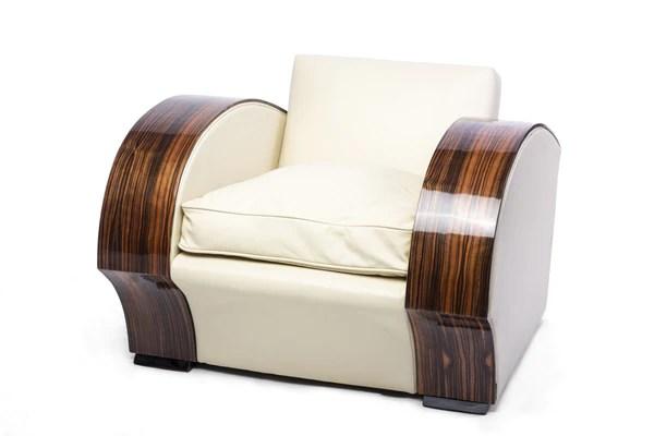 art deco style club chairs toddler car chair south african macassar armchair le antiques