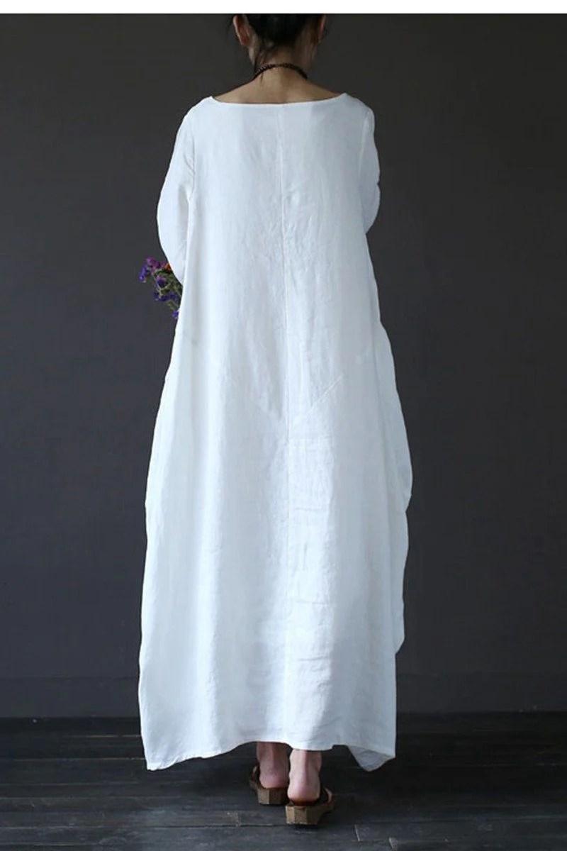 White Bat Sleeve Causel Long Dress Size Oversize