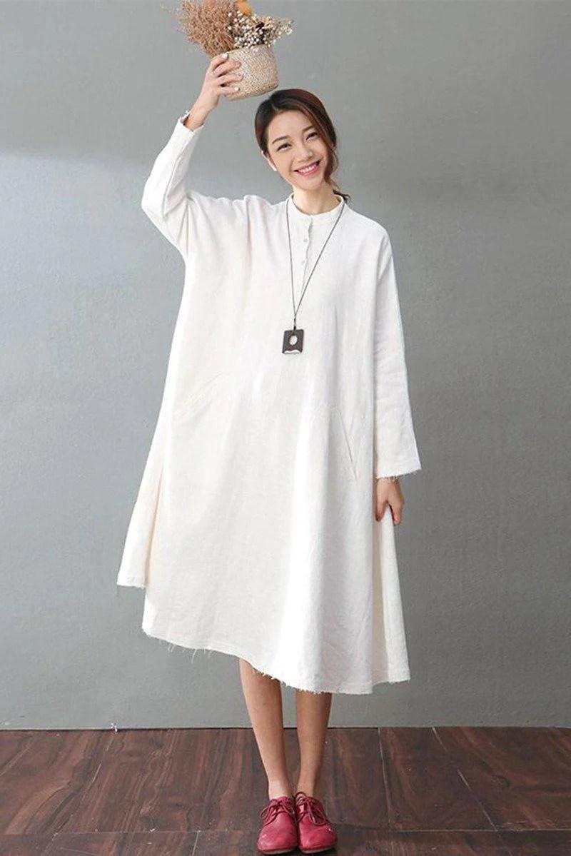White Linen Long Sleeve Dress