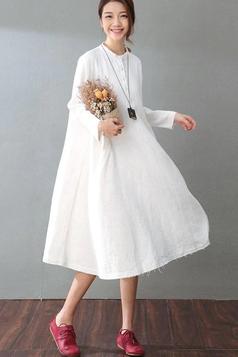 Spring White Casual Cotton Linen Dresses Long Sleeve Shirt