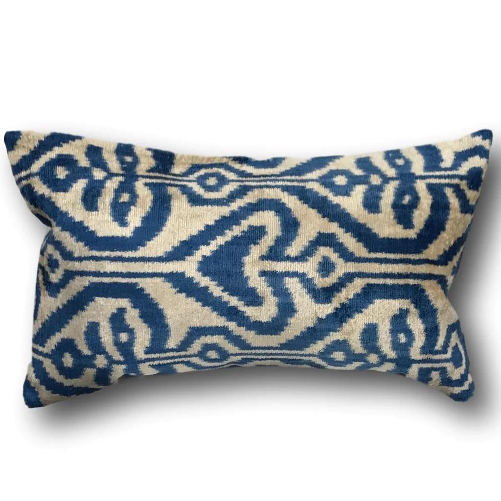 ikat cushion cover royal blue velvet 40 x 60 cm