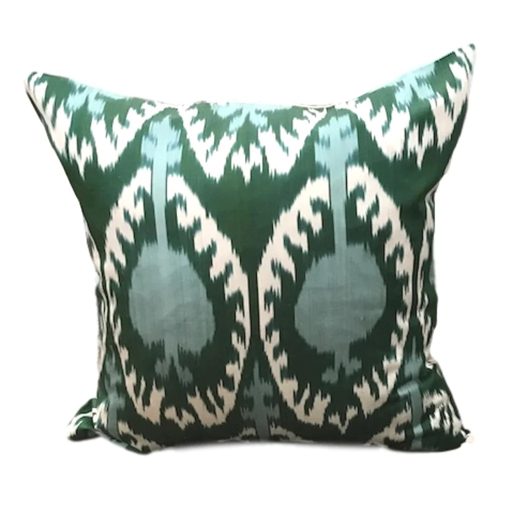 ikat cushion cover green and blue pom 50 x 50 cm