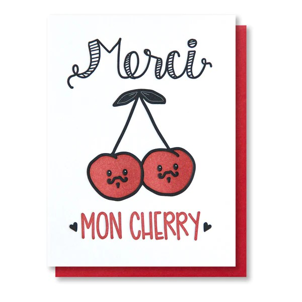 NEW! Funny Punny Thank You Letterpress Card Merci Mon