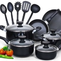 Kitchen Pots And Pans Farmhouse Lights Cookware Set 15 Piece Nonstick Kitchenware Shopmonkeez Cool Handles New Chef