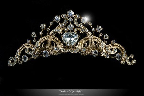 Farrah Vintage Tiara Comb  Gold  Swarovski Crystal