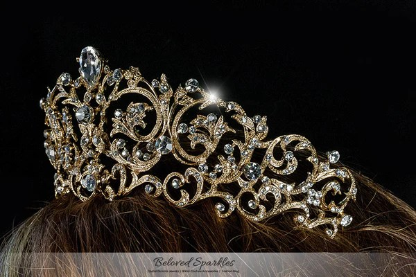 Matilda Victorian Romantic Gold Tiara  Swarovski Crystal  Beloved Sparkles