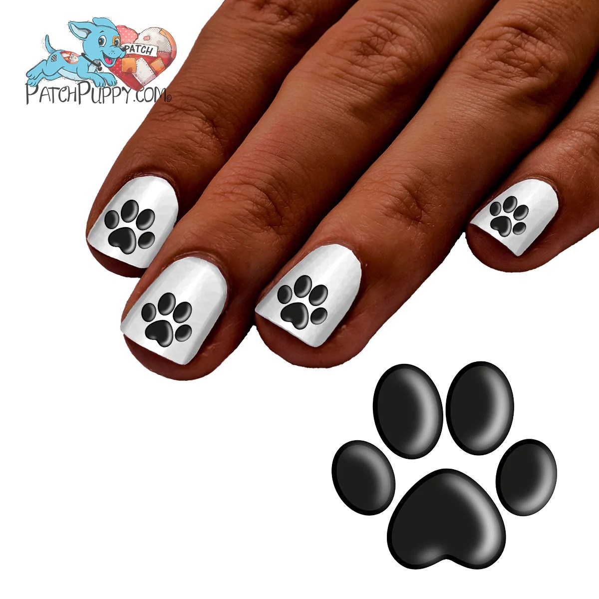 shadow paw print nail art decals