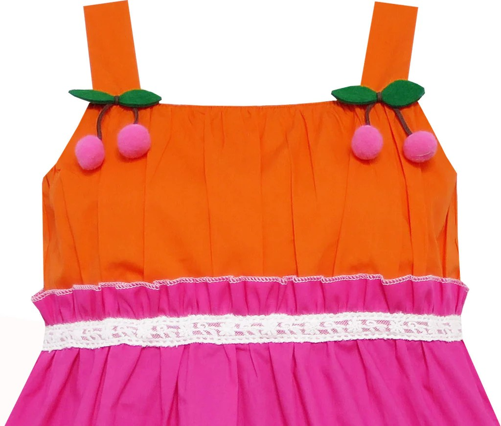 Girls Dress Striped Green Pink Lace Peach Fruit Sunny