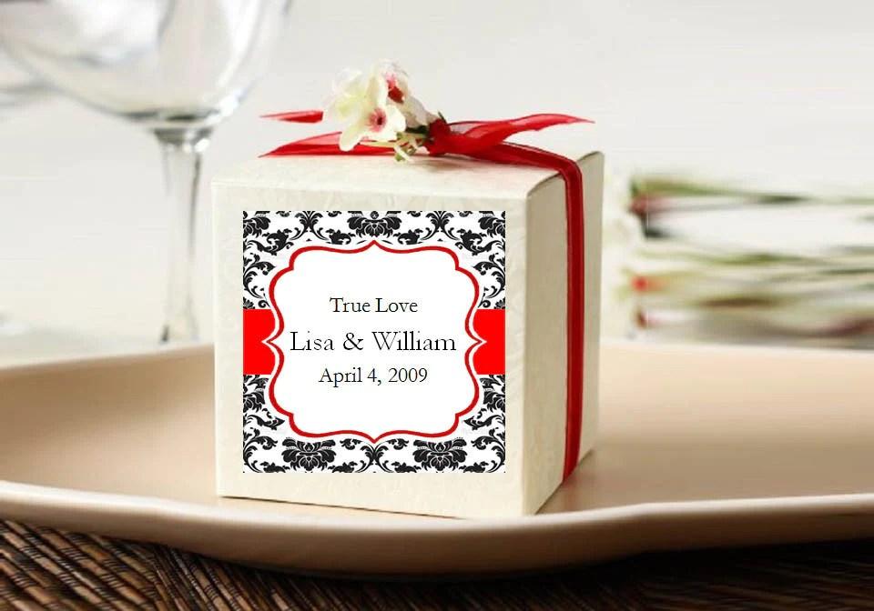 damask wedding square favor