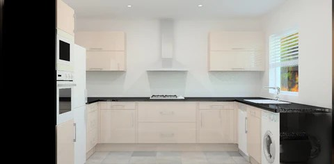 kitchen package red accessories new complete not ex display in space cream gloss can be fitted