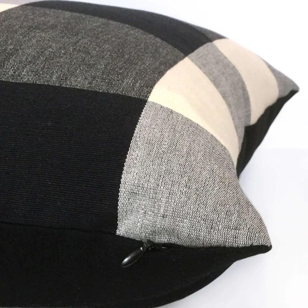 Black Gray Cream Buffalo Plaid Large Checks Pillow Cover