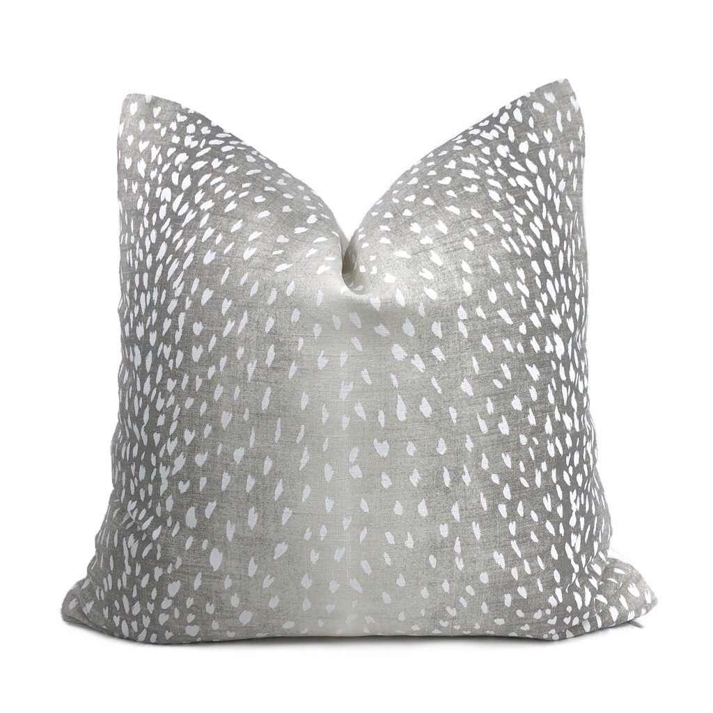 cervidae gray white deer hide animal print pillow cover