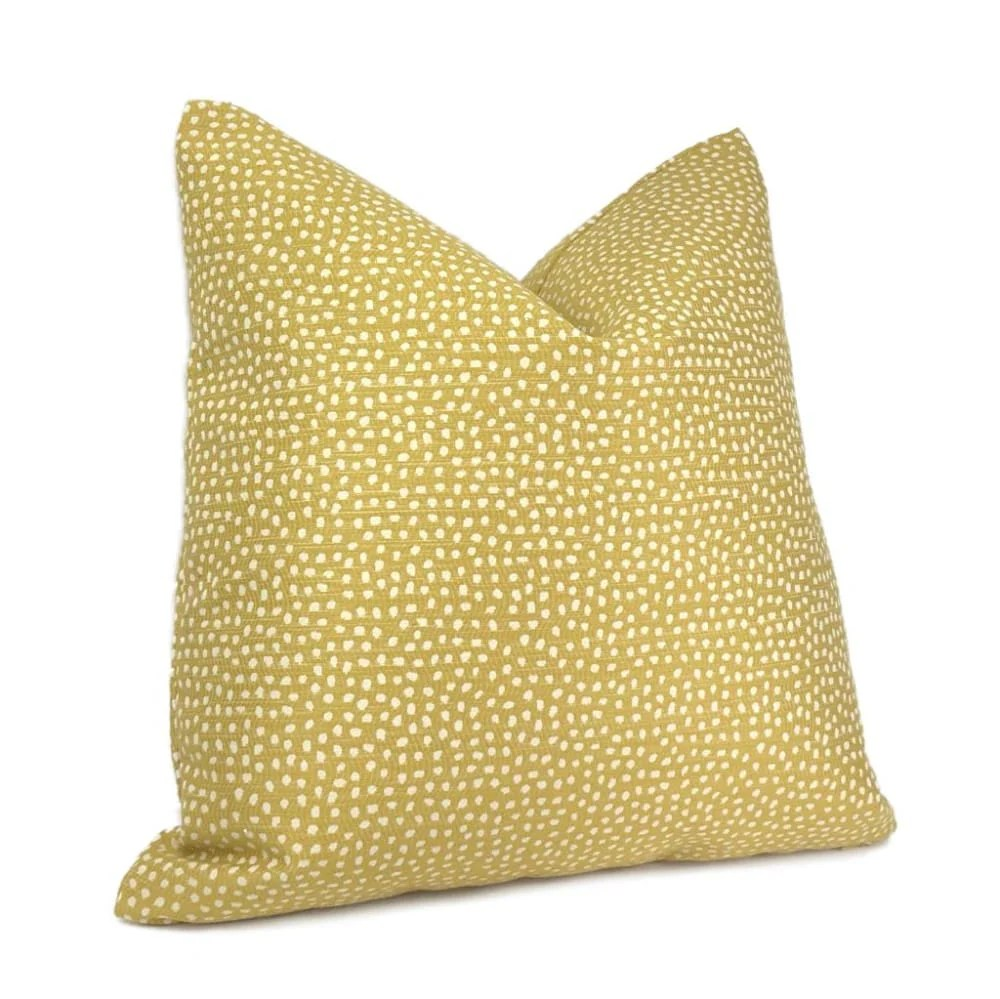 ellis zesty yellow small scale dots woven pillow cover aloriam