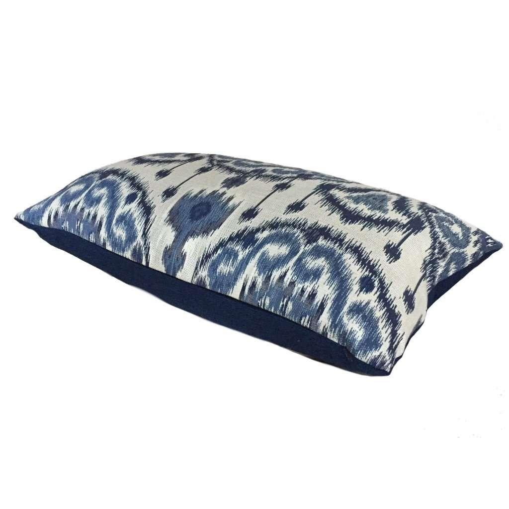 Kravet Ikat Ethnic Medallion Motif Blue Light Beige Pillow