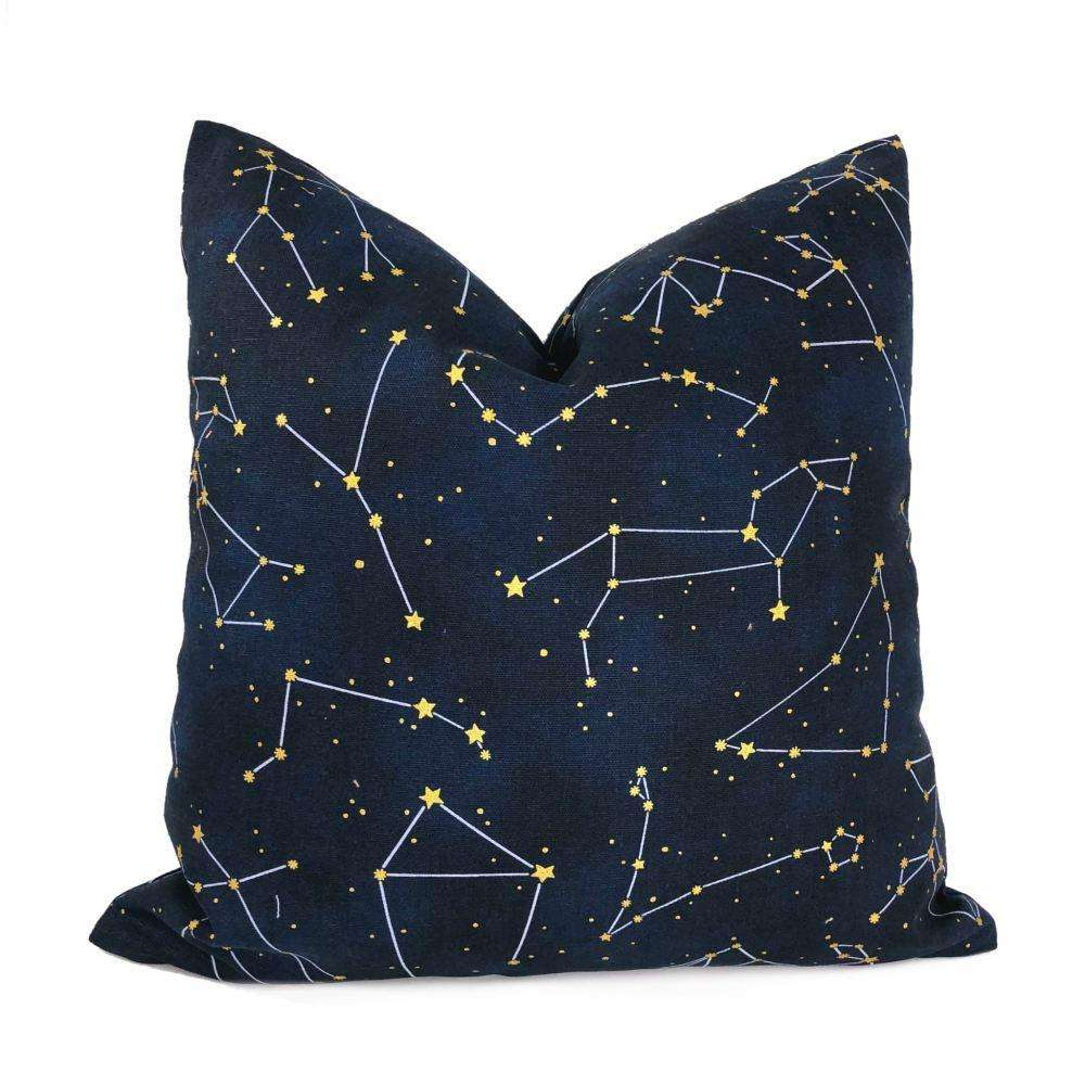 night sky stars and constellations navy blue gold cotton print pillow cover