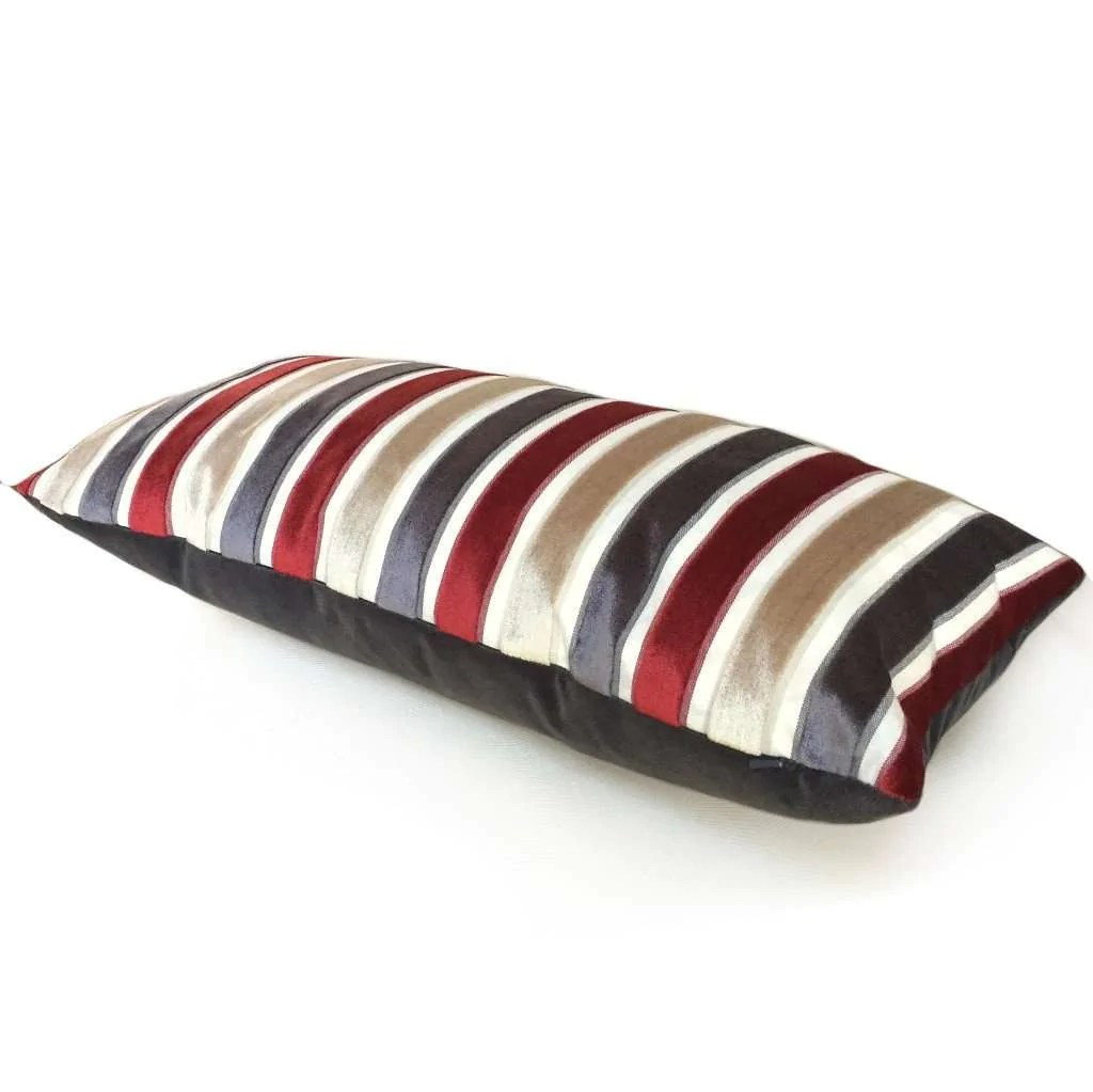 Robert Allen Cut Velvet Stripe Red Gray Beige Cream Pillow