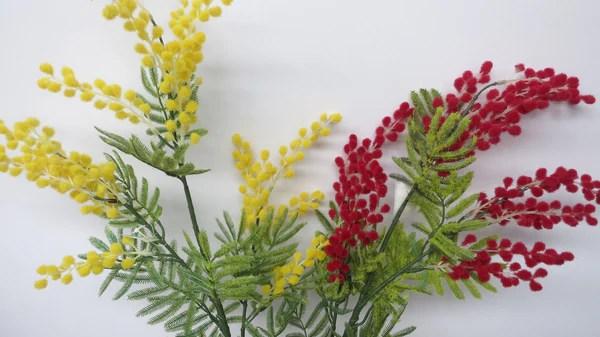 F0105 Artificial Wattle Acacia Mimosa Spray 85cm Yellow
