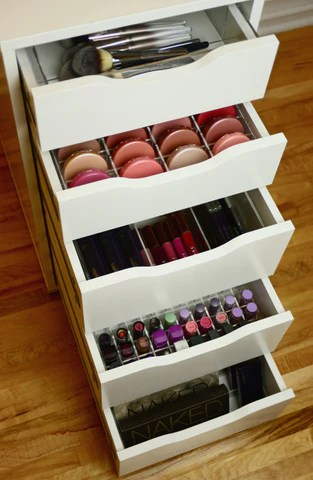 Acrylic Compact Makeup Drawer Organizer for Ikea Alex Sets