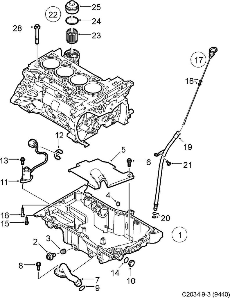 saab oem oil drain plug 03 and up 9 3 sport sedan 4cyl engine 115625 saab parts depot [ 792 x 1024 Pixel ]