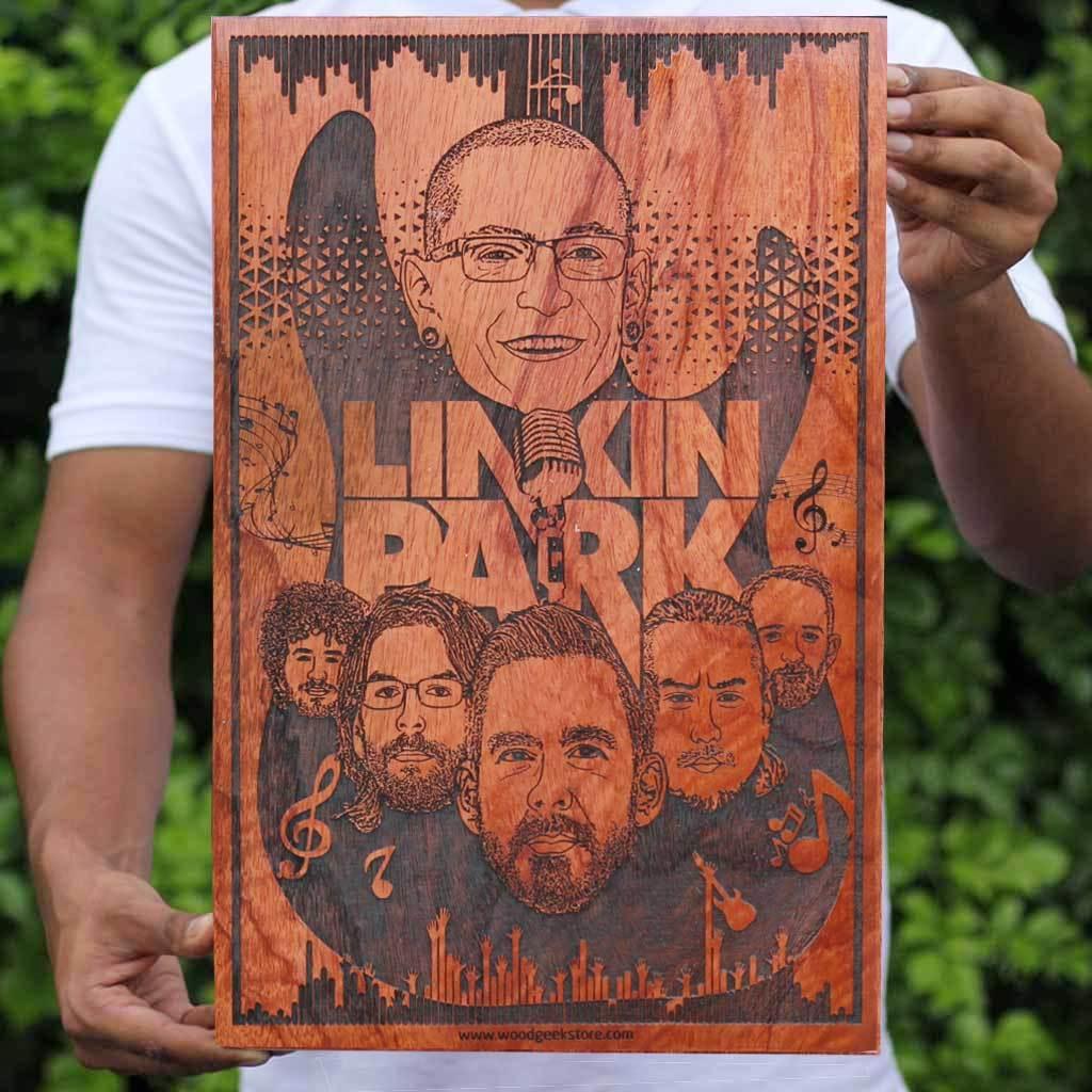 linkin park carved wooden poster
