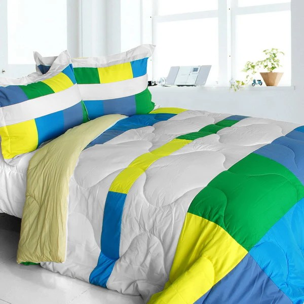 blue green yellow white geometric striped teen boy bedding twin full queen king modern comforter sets