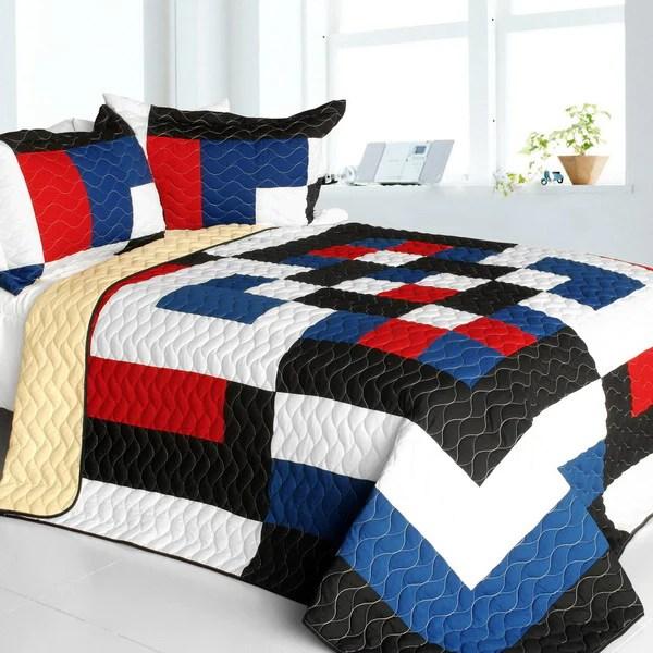 red white black blue geometric teen boy bedding full queen modern quilt set