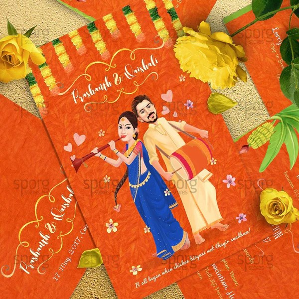 Punjabi Couple Wallpaper With Quotes Caricature Wedding Invitation Design For Indian Weddings