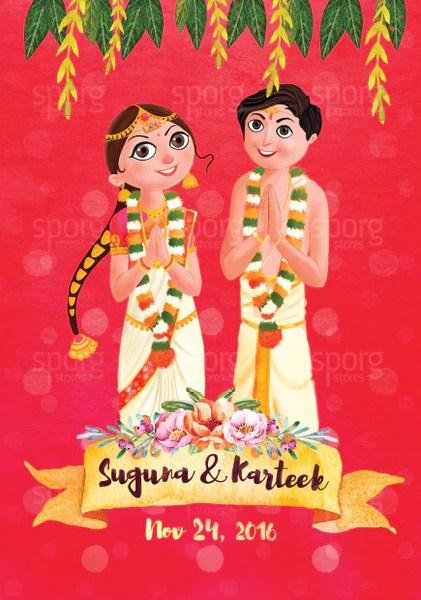 Illustrated Telugu Brahmin Wedding Invitation – SPORG Stores
