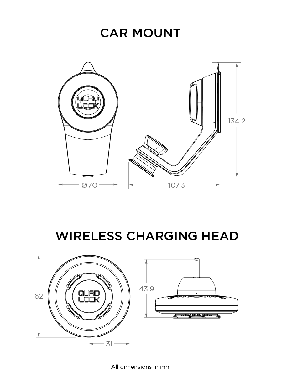 small resolution of  car mount compatible with quad lock cases