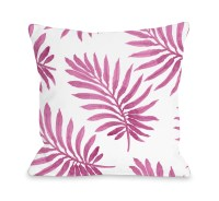 Vibrant Palm Pink Outdoor Throw Pillow