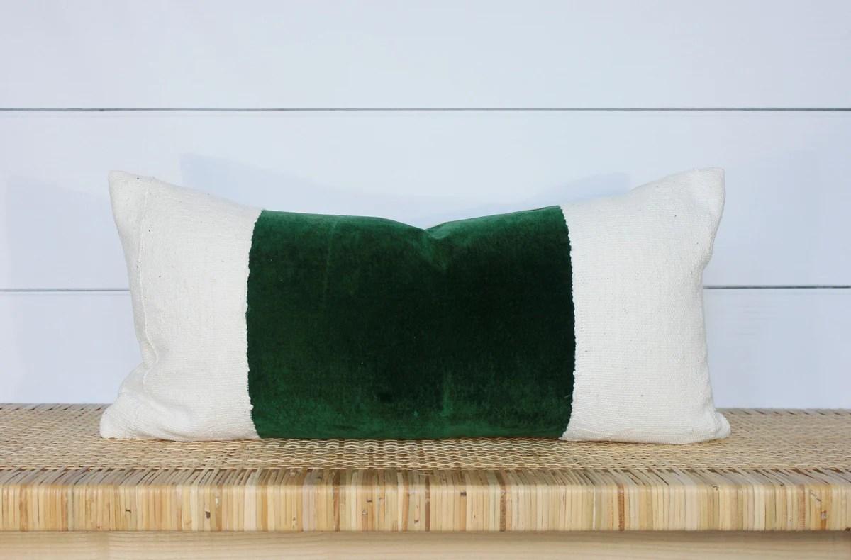 green velvet pillow velvet lumbar 12x24 no455