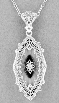 Art Deco Onyx, Camphor Crystal & Diamond Filigree Pendant ...