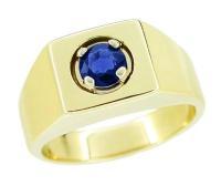 Men's Royal Blue Sapphire Ring in 14 Karat Yellow Gold ...