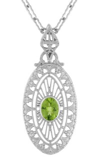 Art Deco Peridot Filigree Oval Pendant Necklace in ...