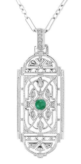 Art Deco Filigree Emerald Geometric Pendant Necklace in