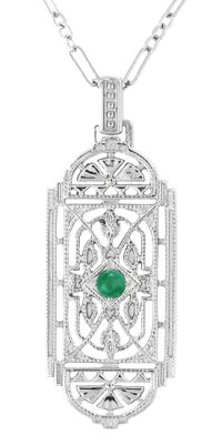 Art Deco Filigree Emerald Geometric Pendant Necklace in