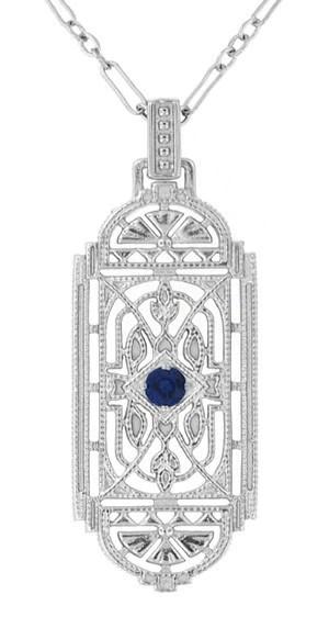 Art Deco Filigree Sapphire Geometric Pendant Necklace In