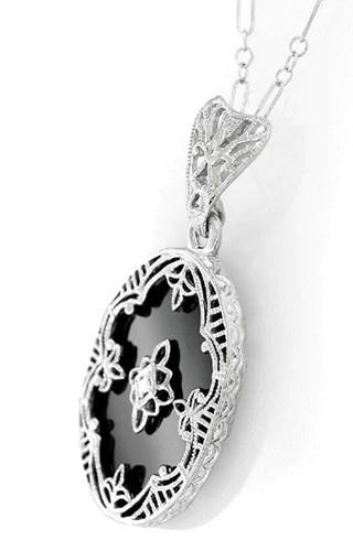 Art Deco Flowers Oval Black Onyx And Diamond Filigree