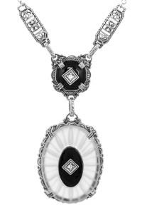 1920's Antique Style Filigree Art Deco Lavalier Necklace ...