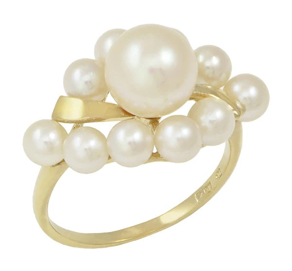 Vintage Mikimoto Pearl Cluster Ring In 14 Karat Yellow