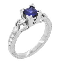 Loving Hearts Princess Cut Blue Sapphire Vintage Style ...