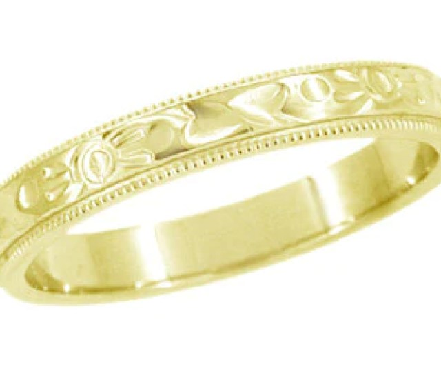 Art Deco Flowers And Leaves Millgrain Edge Engraved Wedding Band In  Karat Yellow Gold