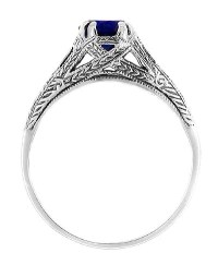 Art Deco Filigree Engraved Blue Sapphire Promise Ring in ...
