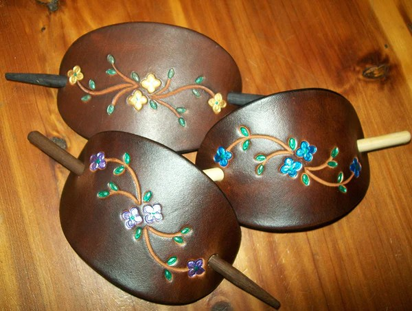 Brightly Painted Flowers Leather Hair Pins  Medium  Old