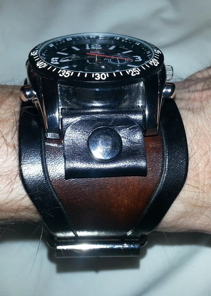 Grooved Wide Leather Watch Straps 2 Inch Old School