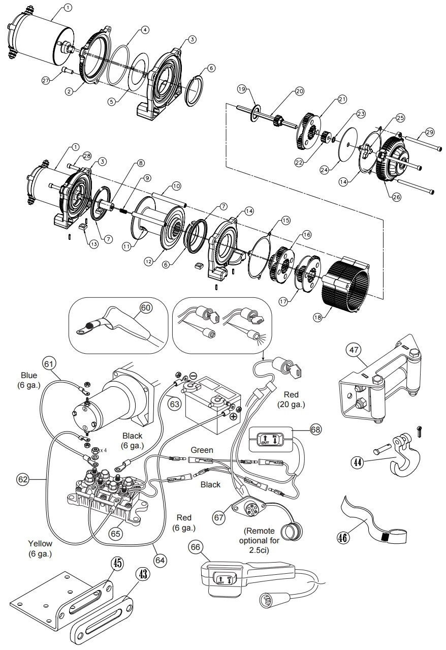 hight resolution of warn 3 0ci ce and 3 0s winch parts