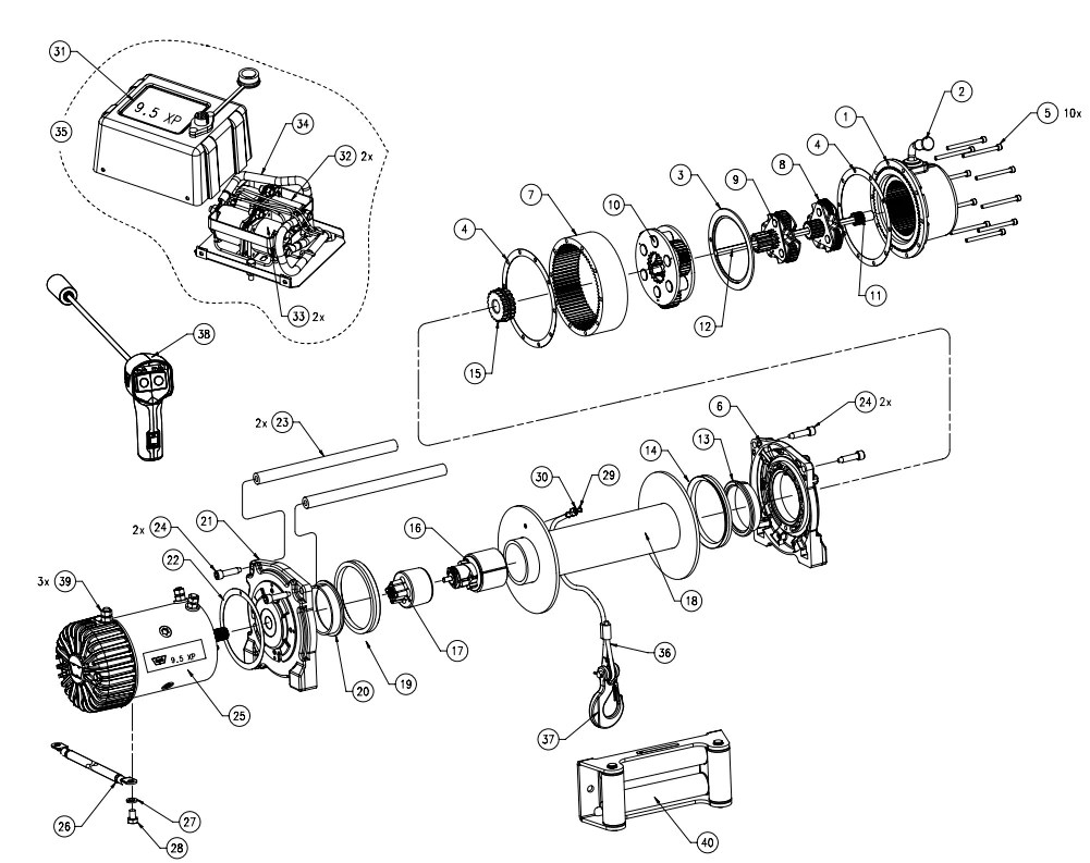 hight resolution of warn 9 5xp truck winch parts